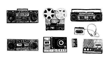 Retro media. Microphones, reel tape recorder, radio receiver, headphones. Set of items music lover and radio isolated on white background.
