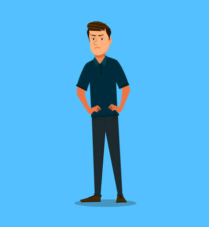Anger. The evil man expresses his negative emotions. Vector illustration in cartoon style