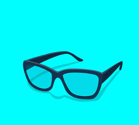 Modern glasses icon isolated on white background vector illustration of elegance spectacles in black frame, eyeglasses with lense, eyewear model Ilustrace