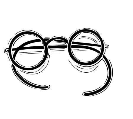 Retro, vintage glasses. Vector hand drawn illustration.