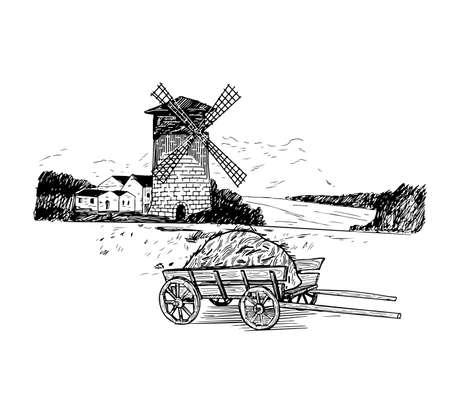 Windmühle. Handgezeichnete Vintage-Skizze-Vektor-Illustration