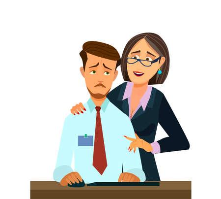 Harcèlement sexuel au travail, femme de bureau et son patron, illustration vectorielle en style cartoon,