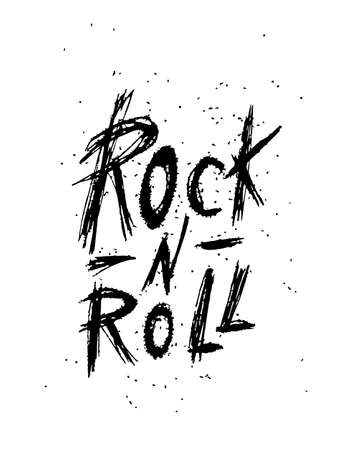 Rock and roll - hand drawn inspiration quote. Calligraphic hand drawn lettering vector poster. For poster, banner, postcard, motivator or part of your design.