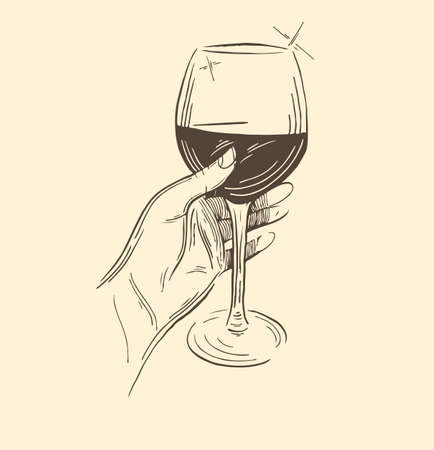 The sketch of the hand with a glass of wine. Vector vector hand-drawn illustration.