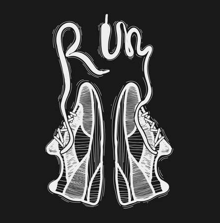 Running quote. Hand drawn vintage illustration with inscription. This illustration can be used as a print on t-shirts and bags, stationary or as a poster Stock Vector - 135350022