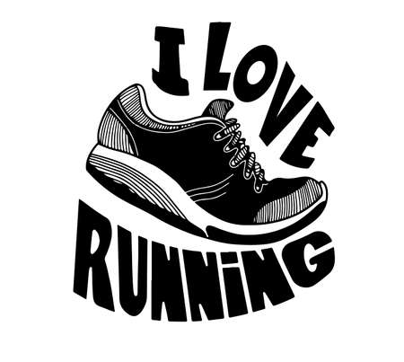 Running quote. Hand drawn vintage illustration with inscription. This illustration can be used as a print on t-shirts and bags, stationary or as a poster Illustration