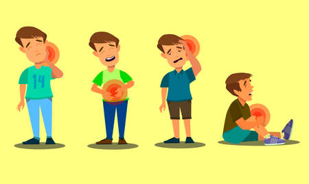 Character set boy with pain in different parts of the body. Back pain, stomach pain, headache, migraine. Vector illustration in cartoon style