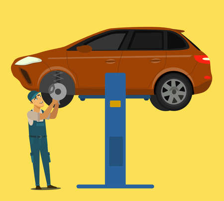 An auto mechanic works in an auto repair service.Vector illustration in cartoon style.