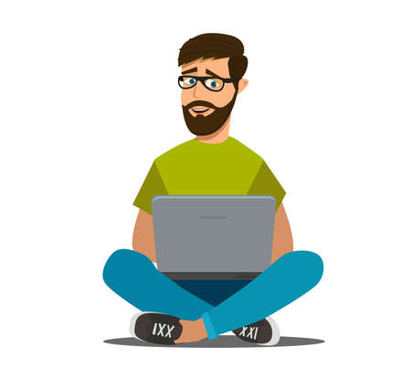 Happy young business man working on a laptop. Remote work via the Internet. Freelancer. Vector illustration in cartoon style