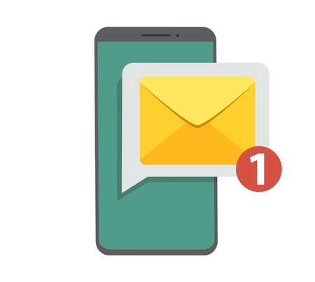 Notification of unread emails. New message on the smartphone screen. Vector illustration in flat style. Illustration