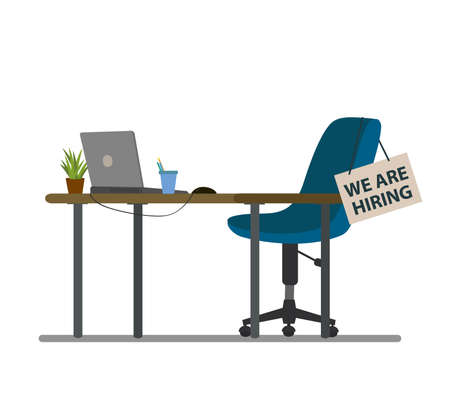 Open vacancy flat vector illustration. Vacant job position. Workplace, workspace with no people. Cartoon desk, chair, PC. Vacant post. Staff search. Job opportunity, employment possibility concept Illustration