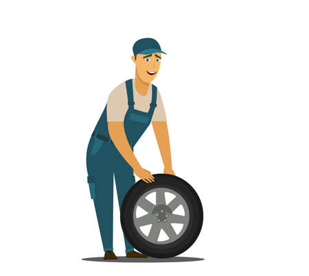 Young mechanic changing wheel at tire service.Vector illustration in cartoon style.
