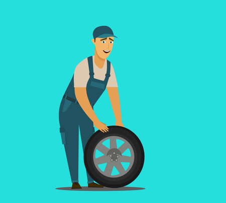 Young mechanic changing wheel at tire service Stock Vector - 136207958