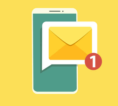 Email notification concept. New email on the smartphone screen. Vector illustration in flat style. Illustration
