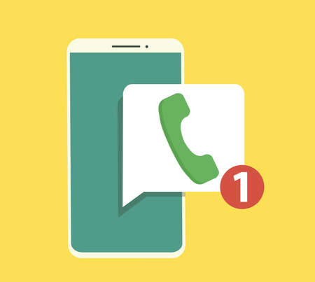 Smart phone with missed call symbol on the screen. Vector illustration in flat style. Illustration