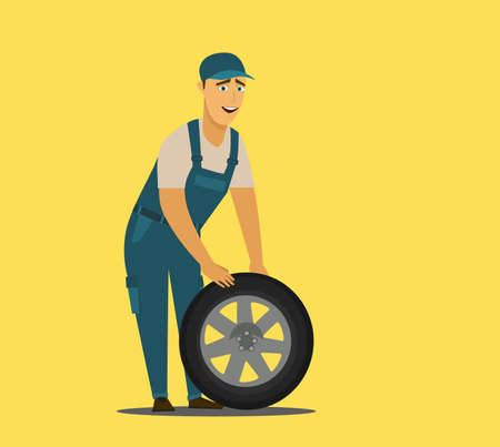 Young mechanic changing wheel at tire service.Vector illustration in cartoon style. Stock Vector - 136207975