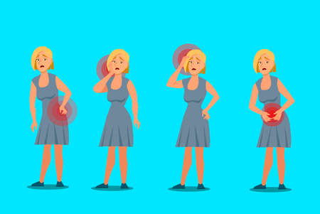 Set of character women with pain in different parts of the body. Backache, abdominal pain, headache, migraine. Vector illustration in cartoon style