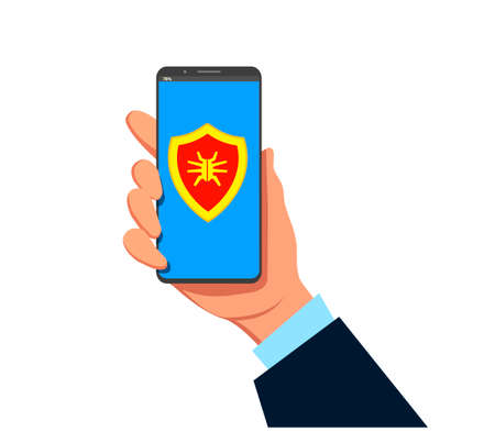 Infected smartphone, overheating, computer first aid - isolated flat vector illustration.