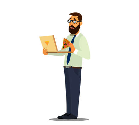 Lunch at the office. Office worker snacking on pizza at work. Vector illustration of a flat design.