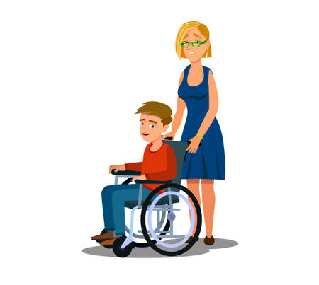 Mother Parent taking care of her disabled children kid girl boy Stock Vector - 138391363