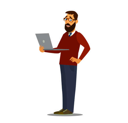Business man and laptop. Working at the computer. Vector illustration in cartoon style Illustration