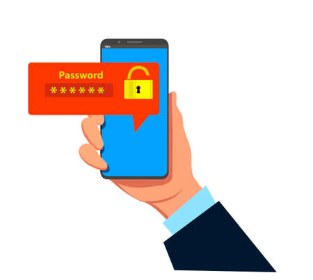 Mobile phone unlocked notification button and password field vector, concept of smartphone security, personal access, user authorization, login, protection technolog Illustration