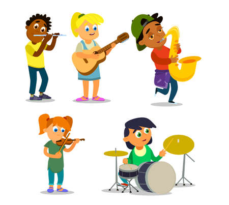 Musical children's band on a white background. Singer and musicians. Vector illustration in cartoon style