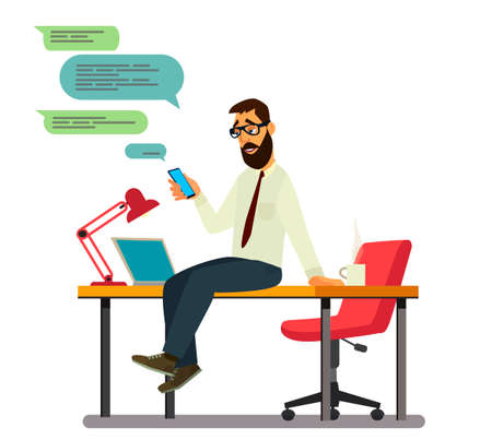 Office worker on a coffee break sitting on a table.Vector illustration in cartoon style
