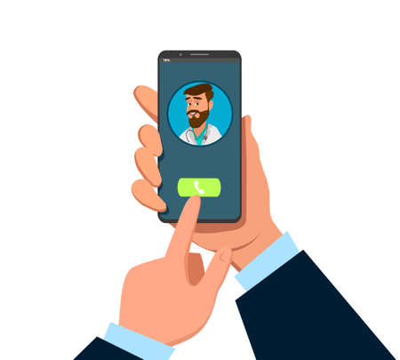 Man Hand holding smartphone with female therapist on call and an online consultation. Vector flat illustration. Ask doctor. Online medical advise or consultation service, tele medicine