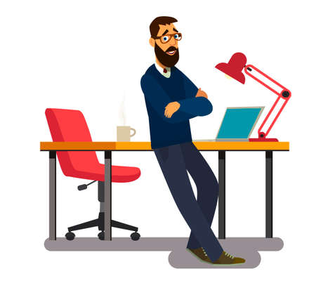An office worker stands at his workplace. vector illustration in cartoon style. Çizim