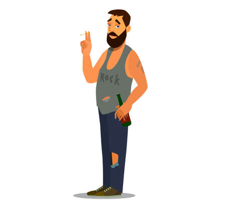 A sullen loafer stands Smoking a cigarette and drinking beer. Flat character design for a person who has problems with alcohol, giving up life. Illustration