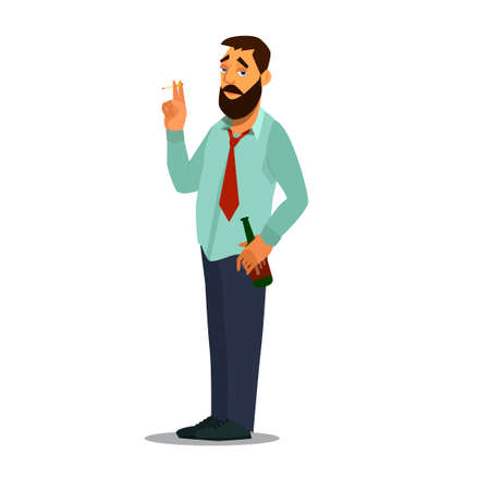 Drunk businessman with a bottle of alcohol. Drunk office worker, casually carrying a bottle of beer and a cigarette. Vector illustration in cartoon style. Çizim
