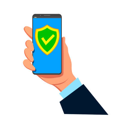 Green screen on the smartphone screen. Hand holding a smartphone. Modern flat illustration design. Illustration