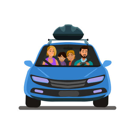 Happy family goes on vacation by car. Father, mother, son, daughter, and dog go on a journey. Illustration