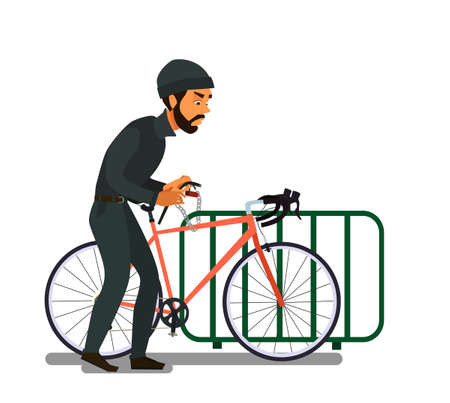 Criminal Bicycle theft vector illustration. Bicycle theft, violation of the law, design element of the crime.