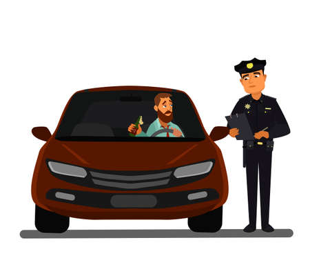 police chasing drunk driver. cartoon illustration. A police officer stopped a drunk driver. Drunk driver. Vector illustration.