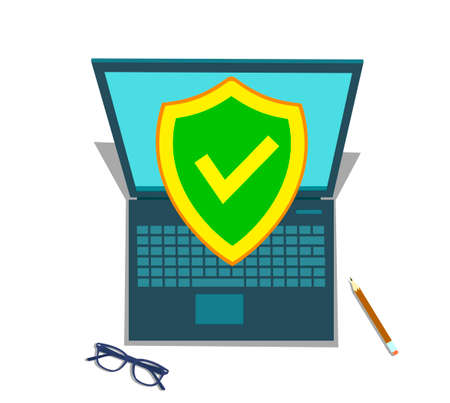 Computer security, protect your laptop concepts. Notebook and shield icon with padlock. Flat design graphic elements for web banners, web sites, printed materials, etc. Modern vector illustration Illustration