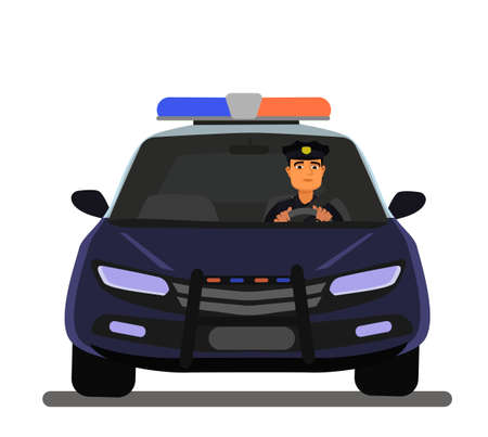 A police officer is sitting in a patrol car. police car. Vector illustration.