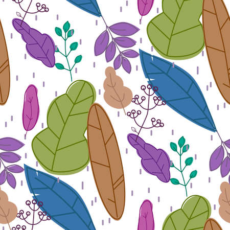Vector simple autumn pattern with leaves, seeds and berries. Scandinavian style. l