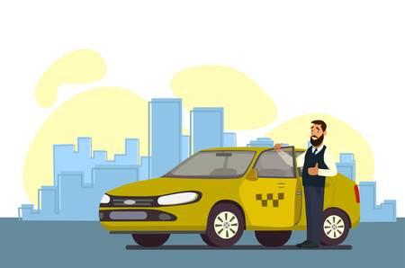 Taxista. Conductor de taxi. Ilustración de vector de estilo plano. El concepto de taxista.