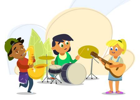 Musical childrens band on a white background. Singer and musicians. Vector illustration