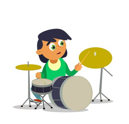Musical childrens band on a white background. Singer and musicians. Vector illustration in cartoon style