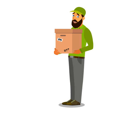 A uniformed courier holds a cardboard box. Courier with a parcel. Vector illustration Illustration