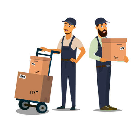 Loader in uniform holding box.Professional Forklift Delivery Company. 矢量图像