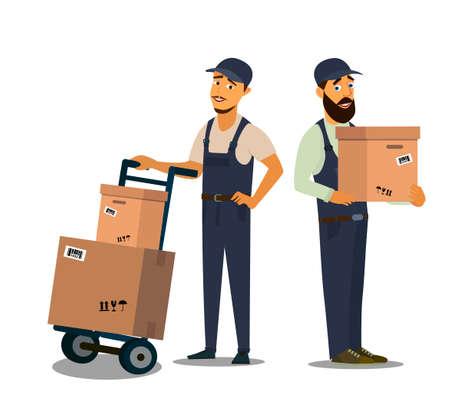 Loader in uniform holding box.Professional Forklift Delivery Company. Illustration