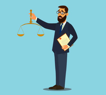 Successfully and won the case.successful lawyer. vector illustration in cartoon style.
