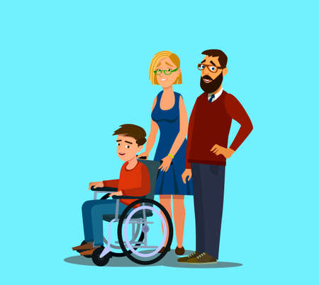 Cheerful family with disabled child in a wheelchair flat design vector illustration. Character design on parents and their limited abilities son together smiling