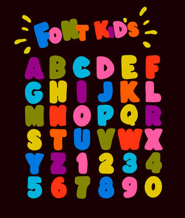 Childrens font in the cartoon style of childhood. Set of multicolored bright letters for inscriptions.