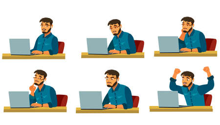 Stages of doing work on a laptop. A bearded man works at a computer. The working process.