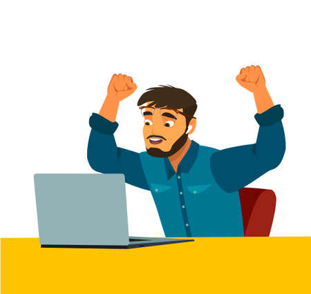 Portrait of happy successful man working on laptop in casuals - isolated on white. Concept communication. Illustration